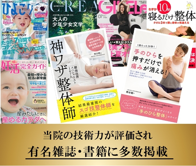 当院の技術力が評価され有名雑誌や書籍に多数掲載